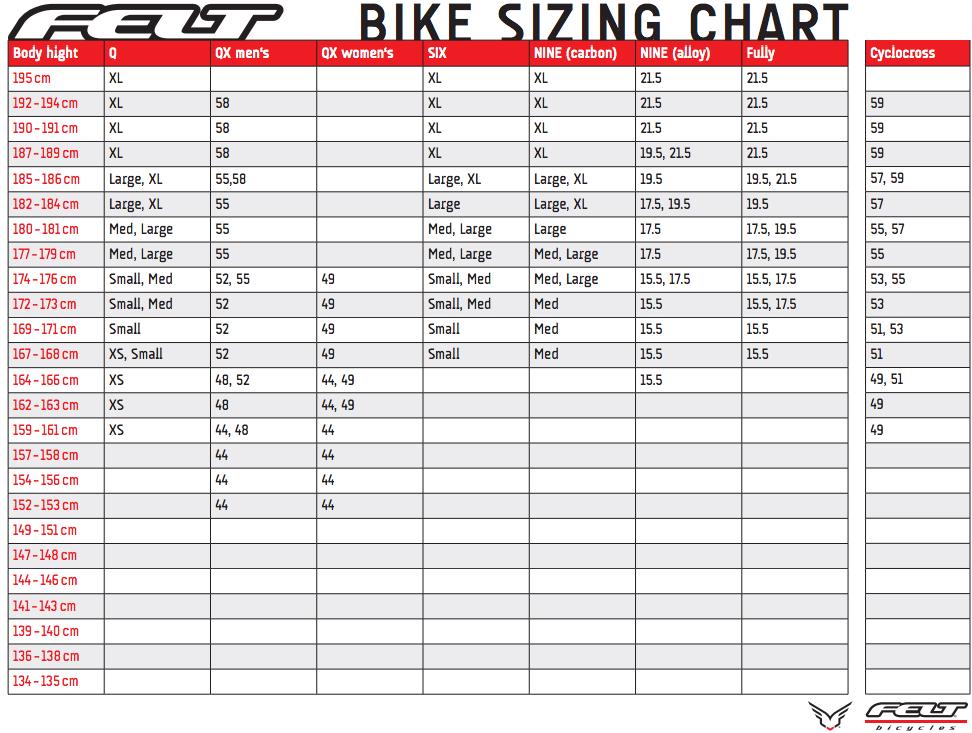 felt bike sizing chart: Bike sizing
